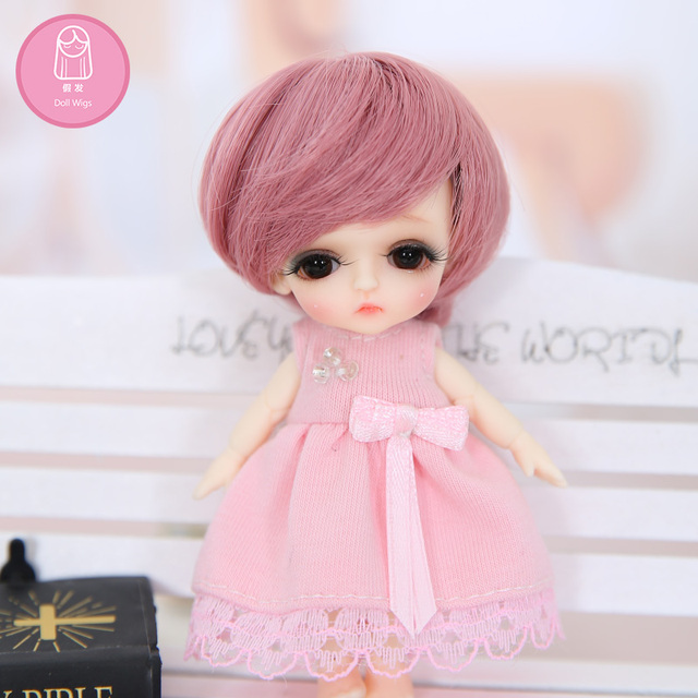 Wig For Doll BJD L12# free shipping size 9cm 1/12 high-temperature wig short hair bjd sd doll Wigs in beauty Baby Hair