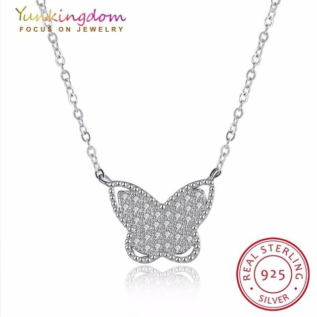 Yunkingdom requintado borboleta colares & pingentes completa zircon do embutimento jóias elegante mulheres 925 colar de prata esterlina