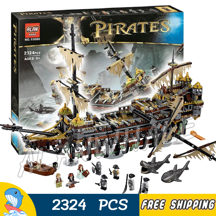 2324pcs Pirates of the Caribbean 10680 Silent Mary Model Building Blocks Assemble Bricks Ships Boats Toys Compatible With Lego qiaoletong city pirates series pirates of the caribbean building blocks sets bricks model kids toys compatible legoing
