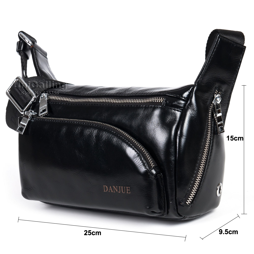 ФОТО New Arrival fashion trunk shape multiple solid zipper pockets design men casual real leather shoulder bag trendy leather man bag