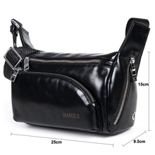 New Arrival fashion trunk shape multiple solid zipper pockets design men casual real leather shoulder bag trendy leather man bag