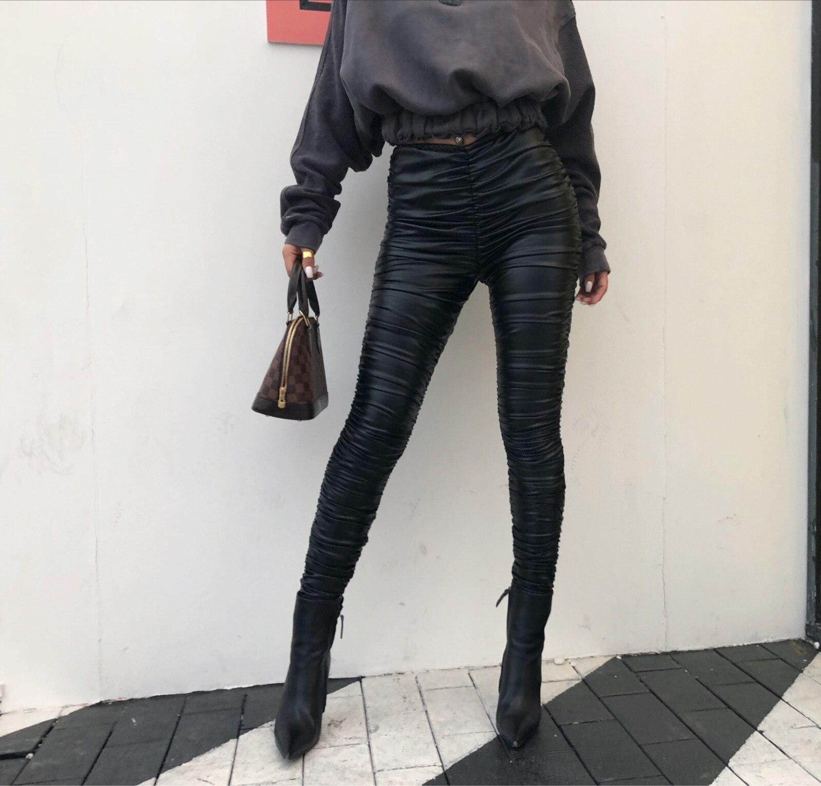 Grand 2018 De Plissée Faux Rue Robe Pu En Élastique Cuir Noir Nouvelles Plis Pantalon Femmes Promotion Ordinaire Pleine gqfgwRxn6U
