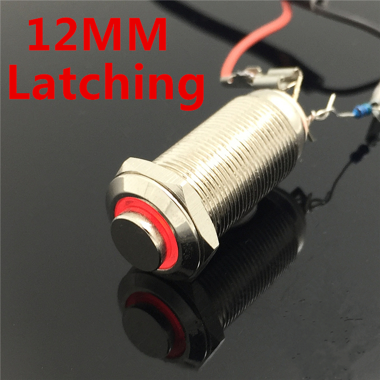 12mm Waterproof Latching Maintained High Round Stainless Steel Metal Push Button Switch Light Shine Car Horn Fix 3V 5V 12V 24V