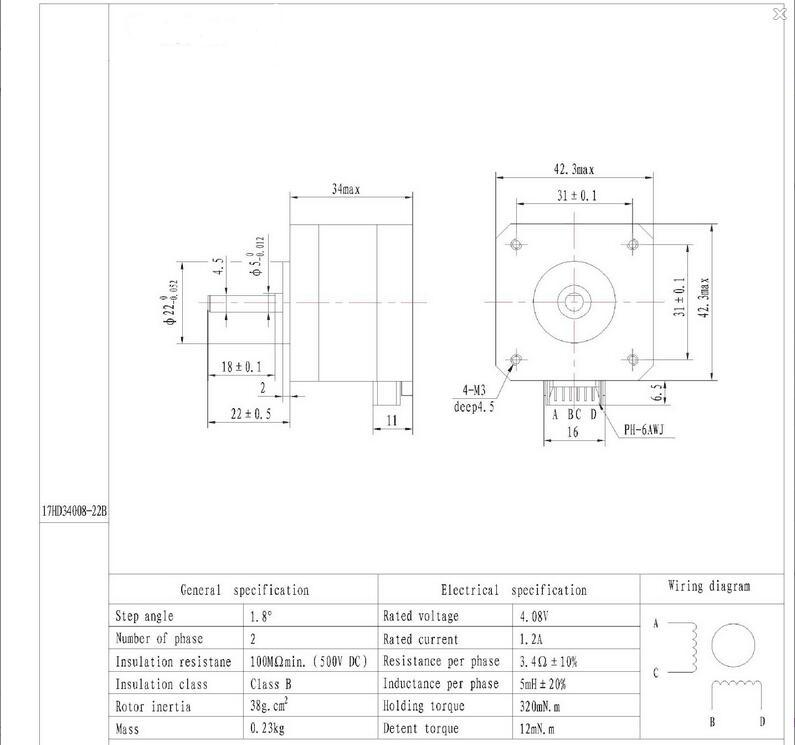 Nema 17 3D Drucker Zwei phase 4 draht Schrittmotor für 1.8Deg ...