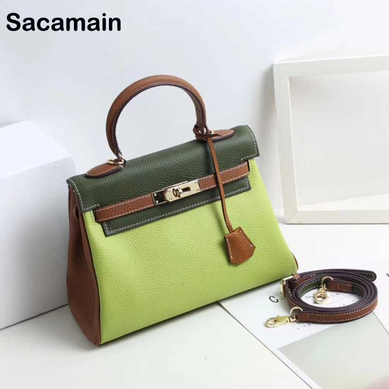 Sacamain Brand 2019 Spring Newest Women 39 s Bags Genuine Leather Shoulder Handbags For Womens Leather Handles For Handbags Sac
