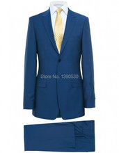 HOT SELLING 100% wool custom made bright blue two buttons notch lapel two piece men's wedding suits !!