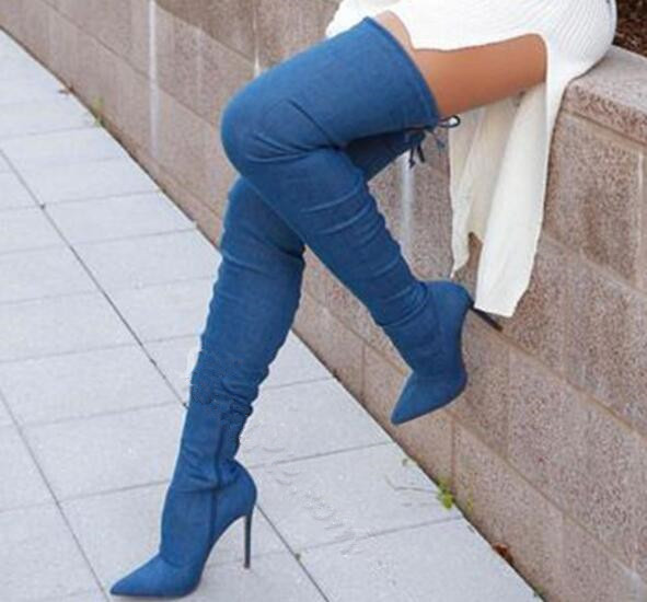 Fall winter blue stiletto heel over the knee denim boots pointed toe high heels thigh high cowboy boots size 35-42 2017 fall winter blue denim short sandal boots front back lace up open toe ankle boots brown black high heel high top sandals