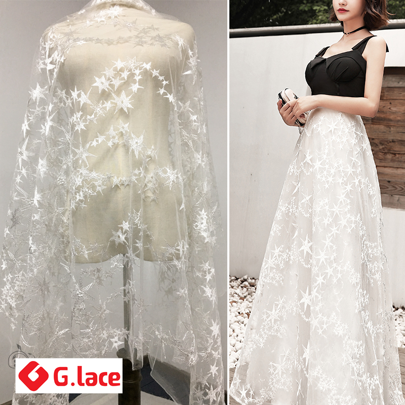 Arts,crafts & Sewing Glace 3y/lotwhite/pink Star Embroidered Lace Fabric Costume Dress Curtain Background Mesh Diy Cloth Accessories Tx151 And To Have A Long Life.