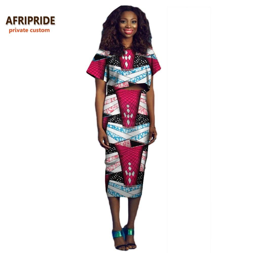 2018 vente chaude femmes costume décontracté AFRIPRIDE privé personnalisé à manches courtes top + mi-mollet longueur jupe crayon pur coton de cire A722625