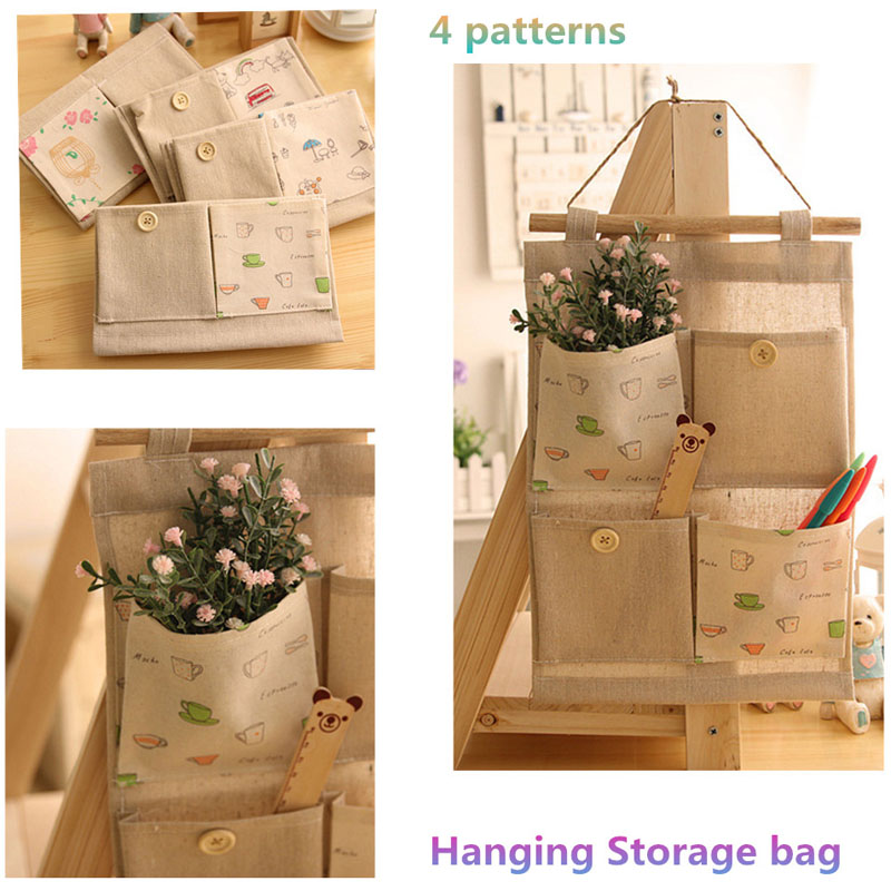 3pcs Lot Hanging Type Storage Pockets Cotton Linen 4 Organizer Fabric Pouch Bag Wall Sundries Organizador In Bags From Home