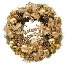 Christmas Wreath Ornamental Garland Simulation Flower Whole Small Solar Circle Light Colour Wheat