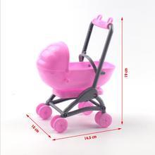 Оригинальная коляска для Барби в сборе, детская коляска на колесиках, детская мебель, тележки, игрушки для куклы Барби на Рождество
