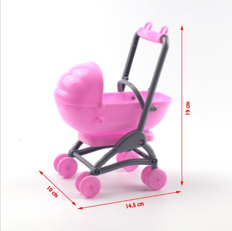 Original For Barbie Stroller Assembly Baby Stroller Trolley Nursery Furniture Carts Toys For Barbie Doll Christmas