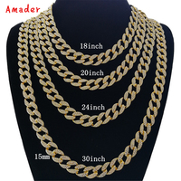 Large Iced Out Bling Rhinestone Crystal Goldgen Finish Miami Cuban Link Chain Men S Hip Hop