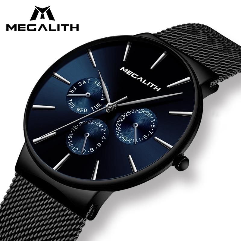 MÉGALITHE Mode Casual Quartz Hommes Montre Étanche Ultra Mince Mens Montres Haut Marque De Luxe Sport Montres Pour Hommes Horloge