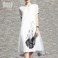 Negro blanco vestido de seda de la vendimia irregular falso de dos vestidos de lino one piece robe femme ropa mujer vestido de festa elbise LT394