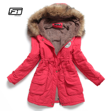 new winter women jacket medium-long thicken plus size 4XL outwear hooded wadded coat slim parka cotton-padded jacket overcoat