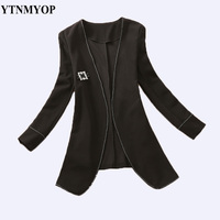 YTNMYOP 2019 New Spring And Autumn Women Black Blazer Casual Brooch Suit Coat Outerwear