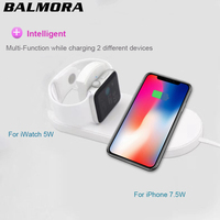 BALMORA Wireless Qi Charger Pad Fast Charging For IWatch 3 2 QI Charger For Sumsang S9