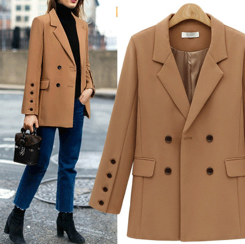Blazer Outerwear Jackets Suit Long-Sleeve Elegant Autumn Double-Breasted Winter Casual