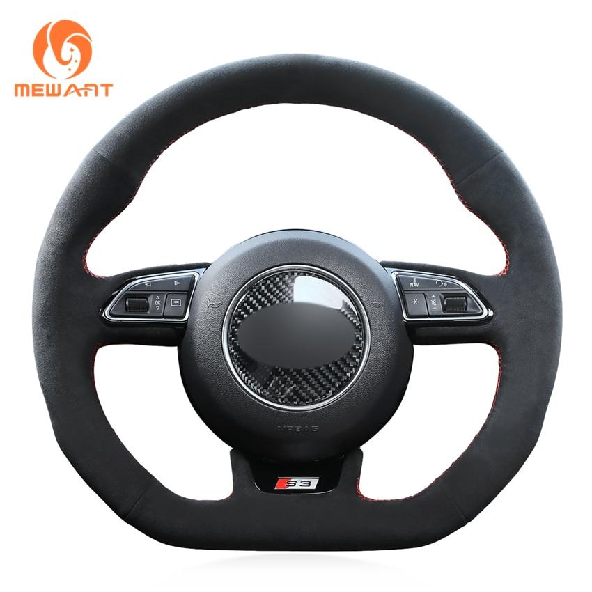 MEWANT Black Suede Car Steering Wheel Cover for Audi A5 A7 RS 5 RS 7 S3 S4 2013 2015 2016 S5 2013 2014 2017 S6 2013 S7 SQ5-in Steering Covers from Automobiles & Motorcycles    1