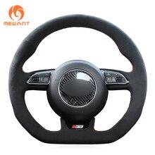 цена на MEWANT Black Suede Car Steering Wheel Cover for Audi S1 8X S3 8V Sportback S4 B8 Avant S5 8T S6 C7 S7 G8 RS Q3 8U SQ5 8R