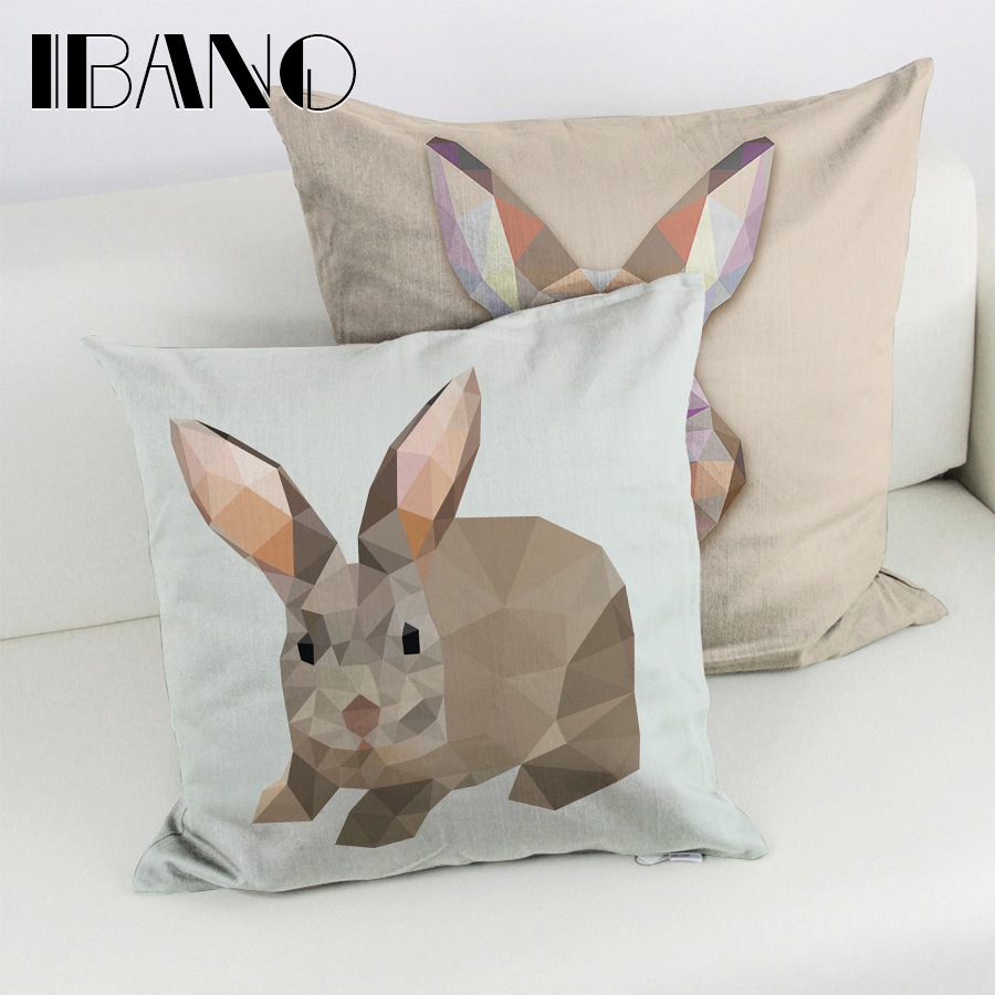 New Style Rabbit 45*45cm Linen Cushion Cover Decorative Home Decor (Filling not included) 1pcs/lot Pillow Cover