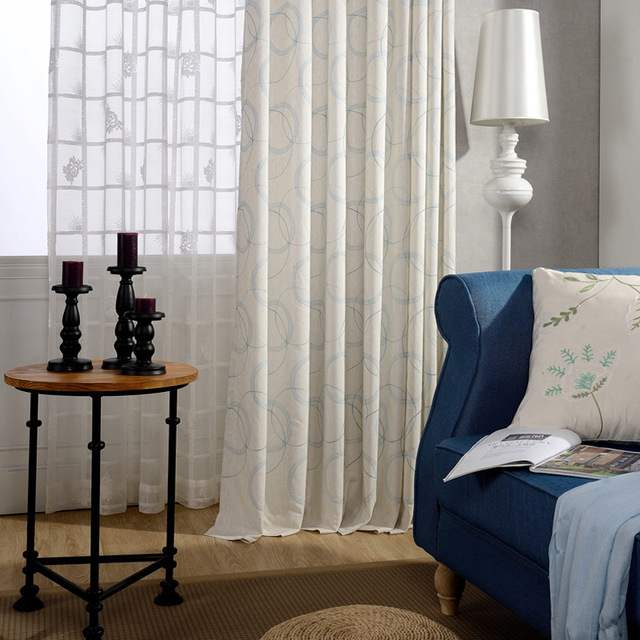 Slow Soul Ring Chain Embroidered Cotton Light Blue Beige Khaki Curtains For  Living Room Cortinas Kitchen