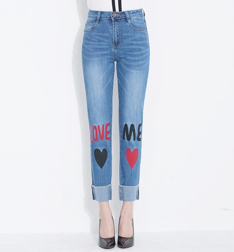 KSTUN FERZIGE Women Jeans 2018 Fashion High Waist Straight Slim Stretch Embroidery Letters Heat Pattern Pleated Cuffs Trousers Ankle 17