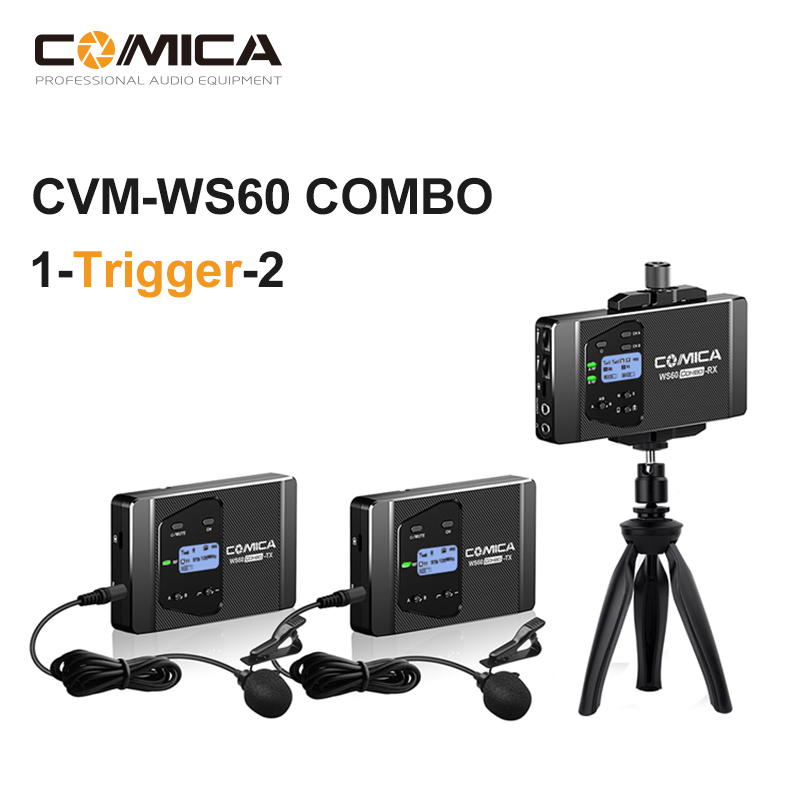 COMICA CVM WS60 COMBO Microphone UHF With Dual transmitter Flexible Mini Wireless Microphone for Smartphone Cameras