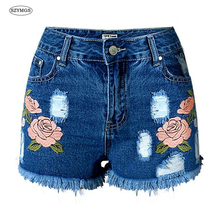 SZYMGS Shorts Hole jeans woman skinny shorts ripped jeans for women vaqueros mujer jean denim short pants pantalon jean femme