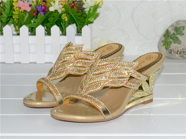 2016 Summer New Diamond Slope With High Heeled Wedges Online Shoes Sandals Size 11 Womens Golden Open Toe Slippers8