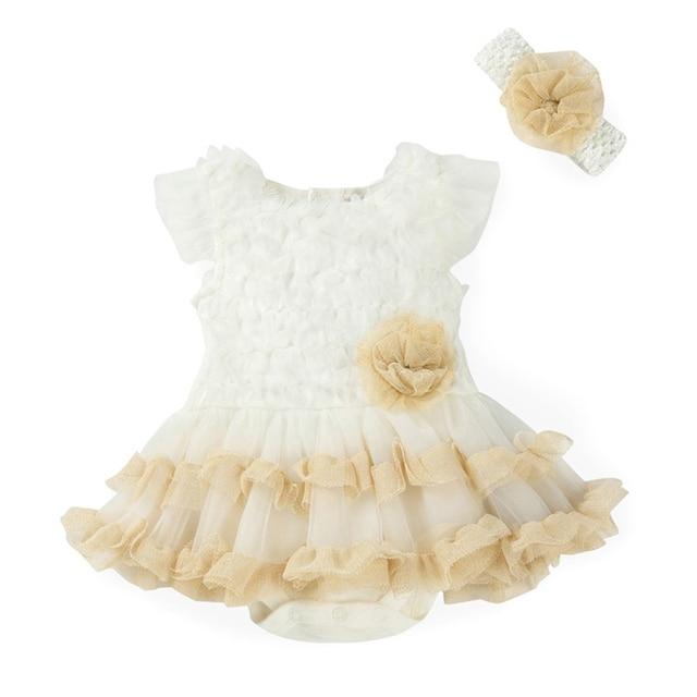 Bebê recém-nascido Meninas Vestidos de Tutu + Headband 2 pcs Define Flor Vestido Infantil Bebes De Menina Batismo Da Menina Da Criança Roupas Definir