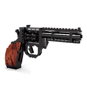 Ausini 22511ピストルおもちゃビルディングブロック軍用リボルバー銃モデル教育組み立て卸売リボルバー