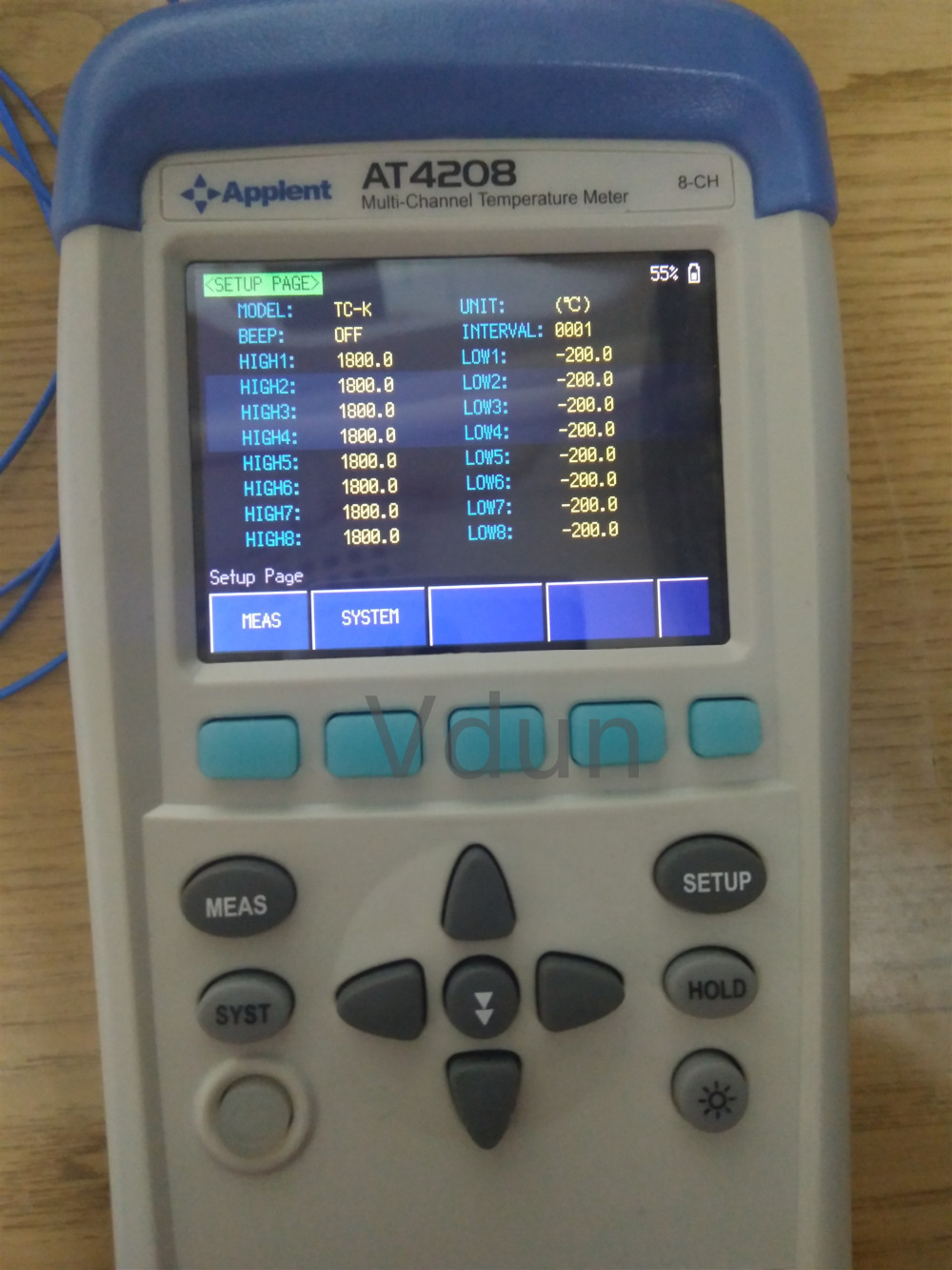 AT4208 Multi channel Thermometer Thermocouple J K T E S N B TFT LCD Touch Screen