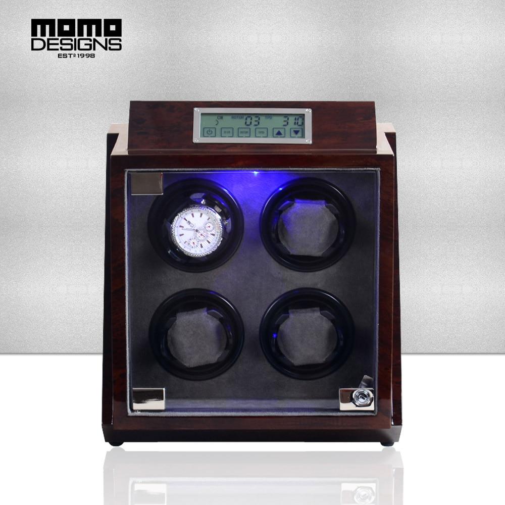 5dfbc1abefb Clássico caixa de Relógio enrolador para 4 relógios automáticos de controle  de toque de tela LCD corrente do Relógio enrolador caixa com DIODO EMISSOR  de ...
