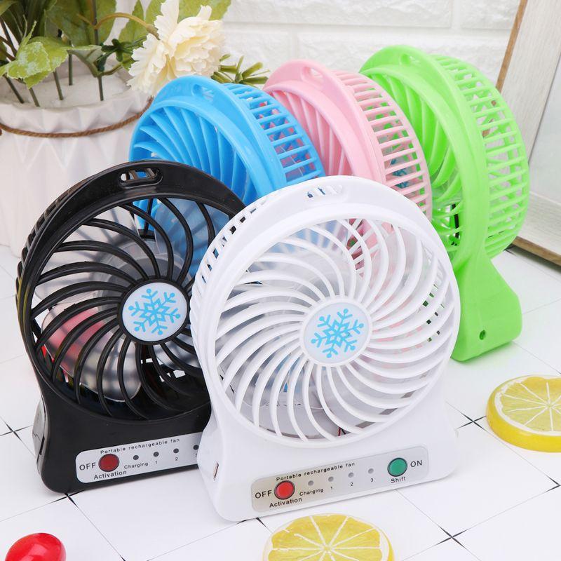 Color : White XIANGNAIZUI 1 Set Portable 5W Outdoor LED Light Fan Air Cooler Desk USB Fan Without 18650 Battery