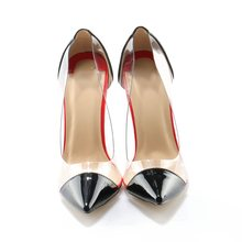 7b9579ba29 Women Classical Style Pointed Toe PVC Pumps Black Colour Transparent  Patchwork High Heels Office Ladies Formal
