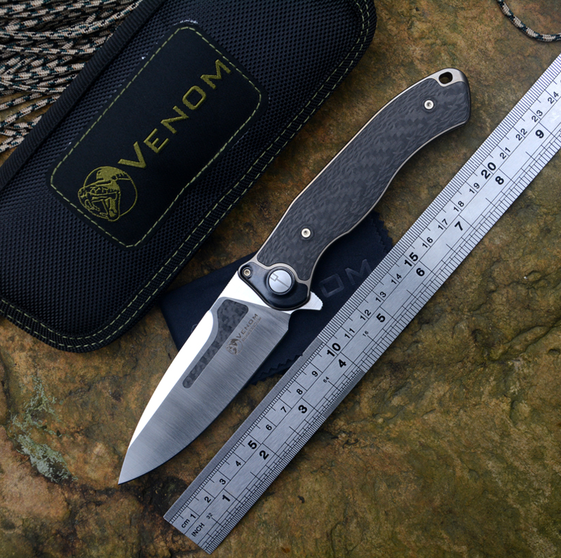 US $228 65 15% OFF|VENOM New Kevin John BONE DOCTOR Knives M390 Blade  Titanium+ CF Handle Flipper Folding Knife outdoor camping hunting Knives-in