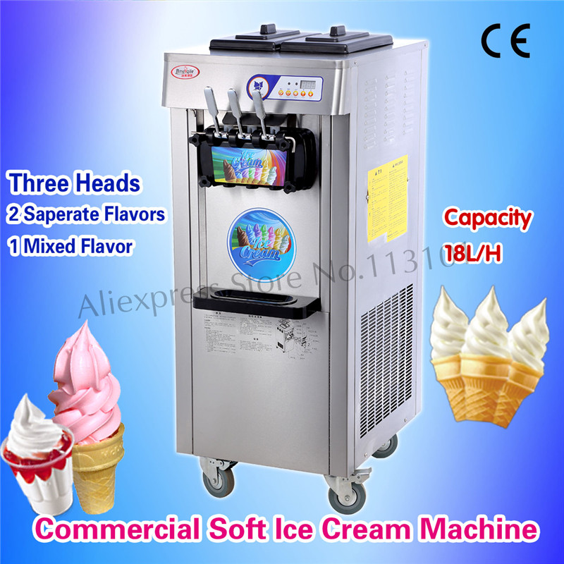 Commercial Soft Ice Cream Machine Snack Bar Soft Serve Equipment Stainless Steel Three Heads Upright Type with Universal Wheels недорого