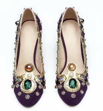 Diamants Mariage Perles De Chunky Couronne Pourpre Grande Photo Femmes Real Chaussures Cuir Hauts Luxe Épais À Talon En 42 Talons Taille 6qwBZATx
