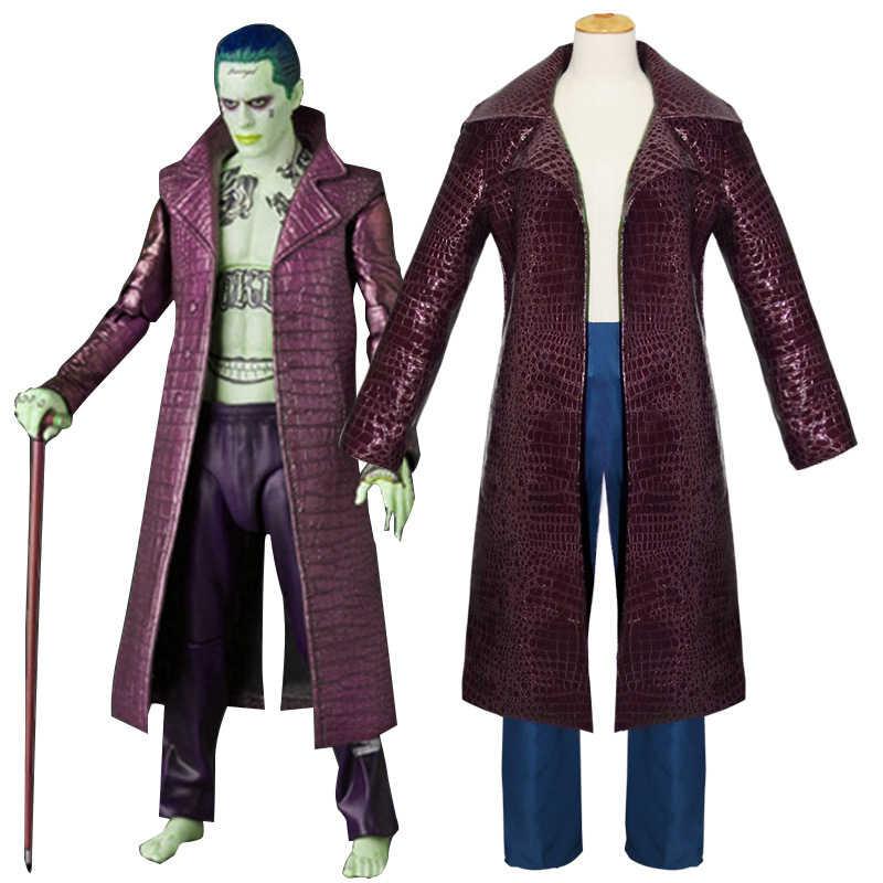 Joker Jared Leto Cosplay disfraz Batman Suicide Squad disfraces de Halloween para hombres adultos PU cuero Trench mens abrigos y chaquetas