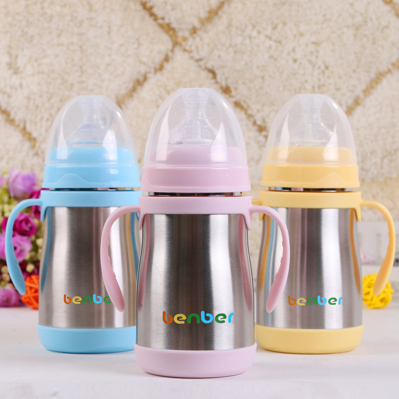 Stainless Baby Bottle Milk Warmer Straw Handles Feeding Cup Baby Sippy Funnel Wide Dispenser Nipple Nibbler Feeder 70F033