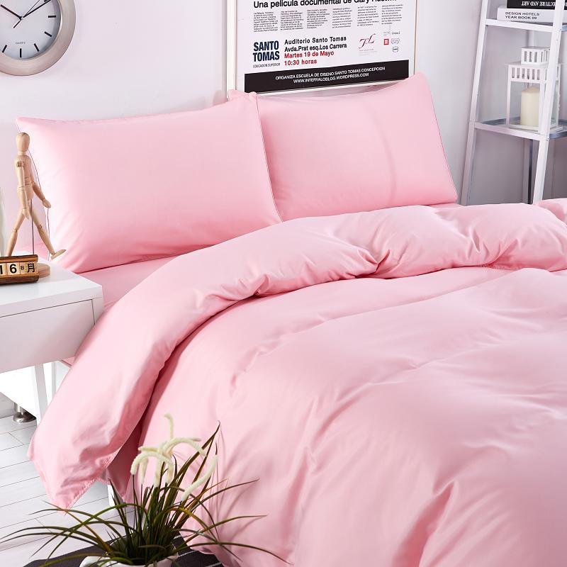 SlowDream Light luxury Bedding Set Solid Pink Duvet Cover Set Soft Polyester Flat Sheet Bedclothes Home Textiles Multi Sizes in Bedding Sets from Home Garden