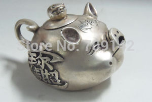 Chinese exquisite Old Decorated Handwork tibet silver collectable old style lifelike pig teapot Tibet silver Carving copper