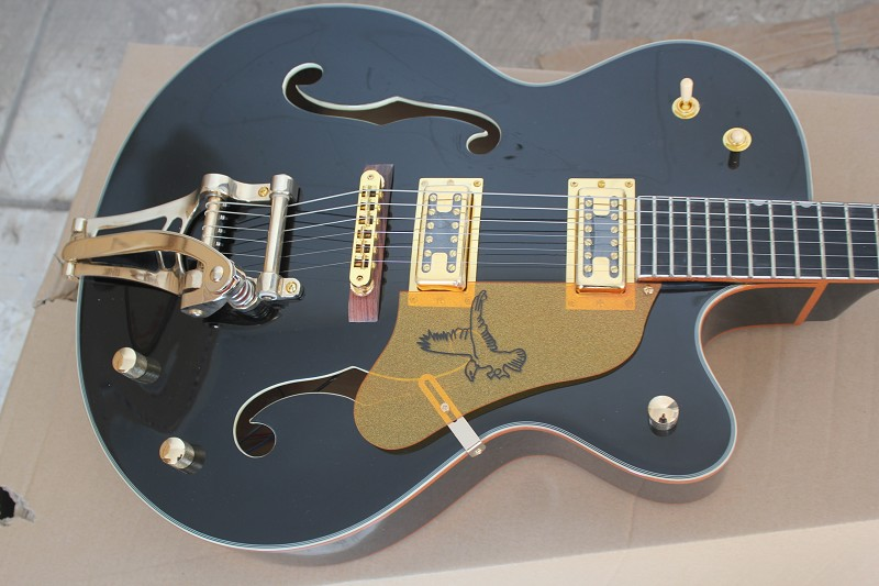 Factory Custom Black GRETSCH THE FALCON 6120 Semi Hollow Body Jazz Korean Tuners Electric Guitar With Bigsby Tremolo 14-11-11