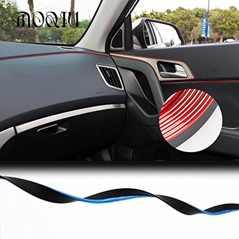 5 m car interior frames door decoration strip trim adhesive console central car auto car styling. Black Bedroom Furniture Sets. Home Design Ideas