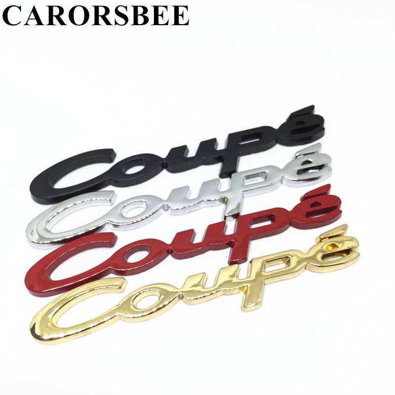CARORSBEE 3D Metal Coupe Chrome Badge Emblem Car Body Rear Tail Trunk Side window Sticker Decals Auto Exterior Styling Accessory auto chrome for 2008 2013 genesis front rear wing emblem badge sticker