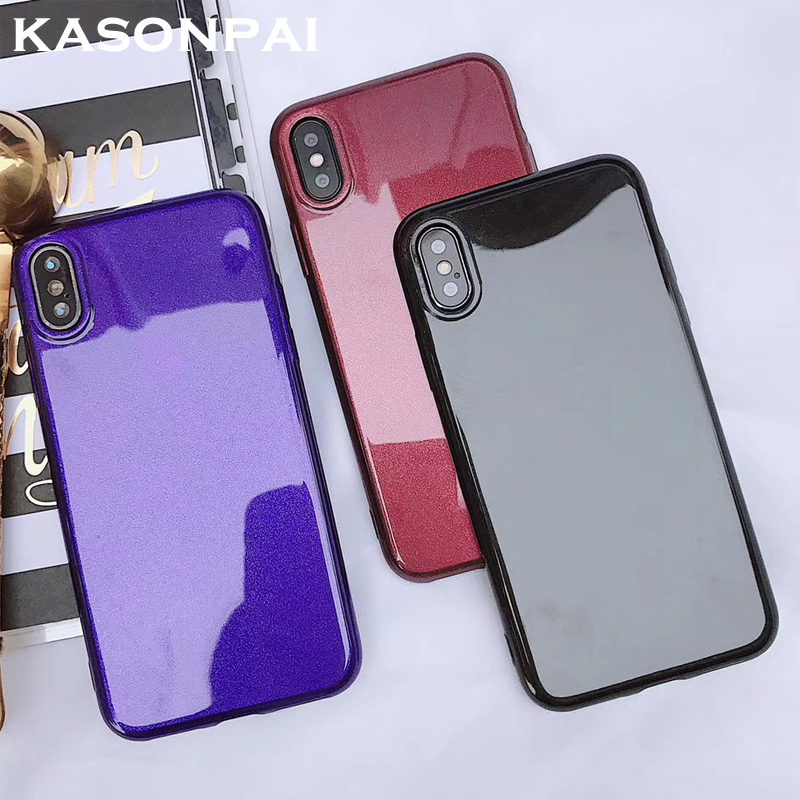 KASONPAI Ultra Thin Glitter Bling Red Black Phone Case For iPhone 7 Case For iphone X 6 6S 8 Plus 5 5S SE Soft Purple Back Cover