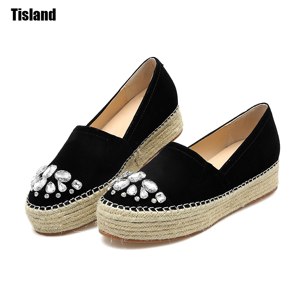 2017 Summer Woman Espadrilles Genuine Leather Platform Shoes Woman Slip On Platform Women Flats Rhinestones Loafers Women Shoes minika women shoes summer flats breathable lace loafers platform wedges lose weight creepers platform slip on shoes woman cd41